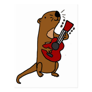 Funny Sea Otter Playing Guitar Postcard