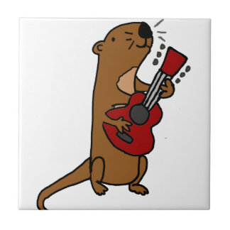Funny Sea Otter Playing Guitar Tile