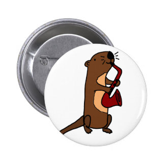 Funny Sea Otter Playing Saxophone 6 Cm Round Badge