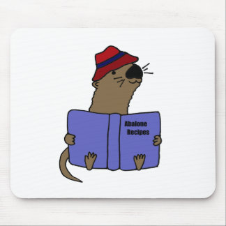 Funny Sea otter Reading Abalone Recipe Book Mouse Pad