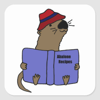 Funny Sea otter Reading Abalone Recipe Book Square Sticker