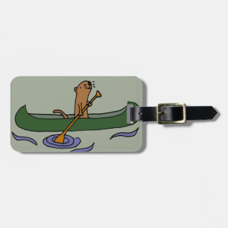 Funny Sea Otter Rowing in Canoe Luggage Tag
