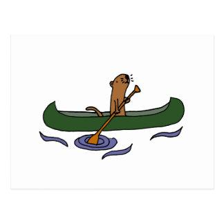 Funny Sea Otter Rowing in Canoe Postcard