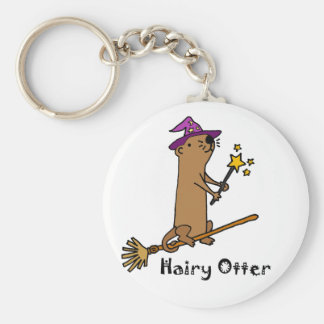 Funny Sea Otter Wizard Cartoon Key Ring