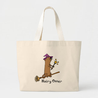 Funny Sea Otter Wizard Cartoon Large Tote Bag