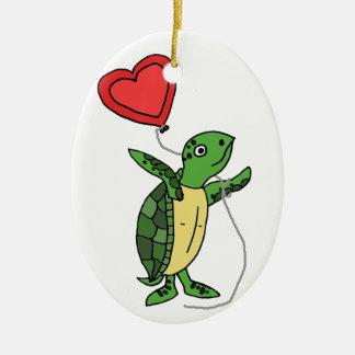 Funny Sea Turtle Holding Heart Love Balloon Ceramic Ornament