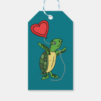 Funny Sea Turtle Holding Heart Love Balloon Gift Tags
