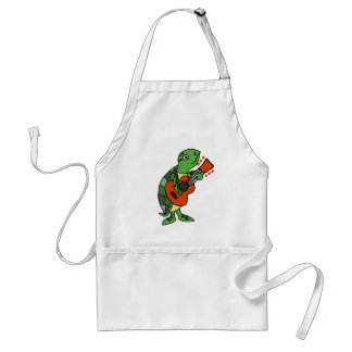 Funny Sea Turtle Playing Guitar cartoon Standard Apron