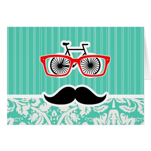 Funny Seafoam Green Damask Card