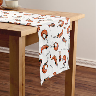Funny seafood shrimps table runner