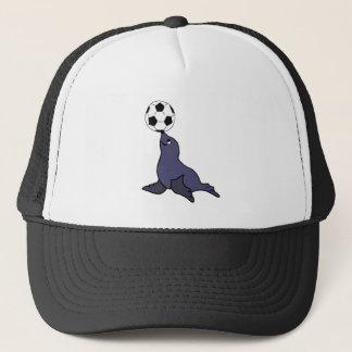 Funny Seal Animal Juggling Soccer Ball Trucker Hat