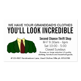 Funny Second Hand Store Thrift Shop Business Cards