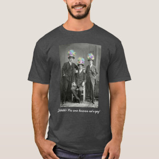 Funny Self-Outing Vintage Gay Men In Flowery Hats T-Shirt