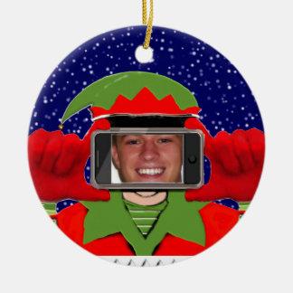 funny selfie photo ceramic ornament