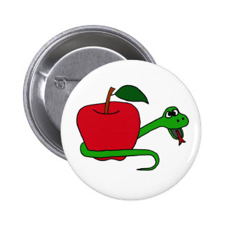 Funny Serpent Wrapped around Red Apple Pinback Buttons