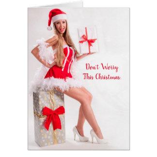 Funny Sexy Beautiful Woman Christmas Card