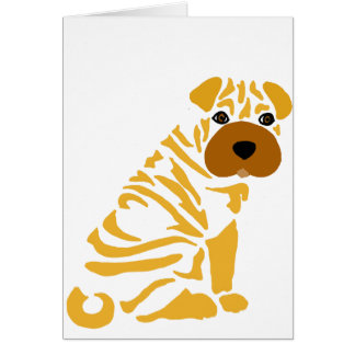 Funny Shar Pei Puppy Dog Abstract Art Card
