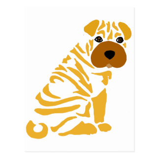 Funny Shar Pei Puppy Dog Abstract Art Postcard