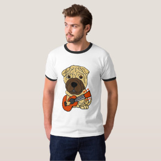 Funny Shar Pei Puppy Dog Playing Guitar T-Shirt