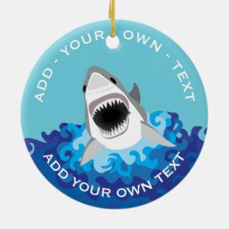 Funny Shark Attack Ceramic Ornament