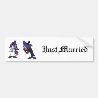 Funny Shark Bride and Groom Wedding Cartoon Car Bumper Sticker