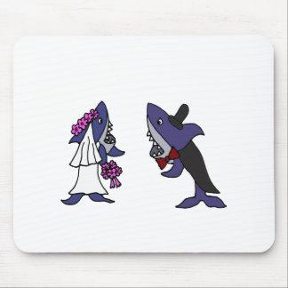 Funny Shark Bride and Groom Wedding Cartoon Mousepad