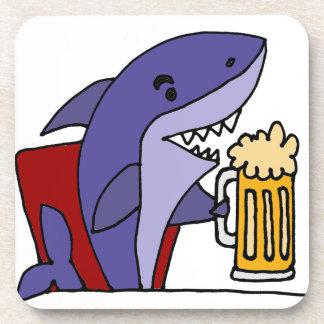 Funny Shark Drinking Beer Drink Coaster