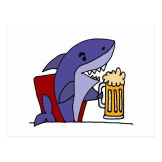 Funny Shark Drinking Beer Postcard