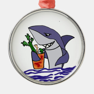Funny Shark Drinking Bloody Mary Metal Ornament