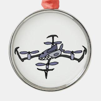 Funny Shark Drone Art Metal Ornament