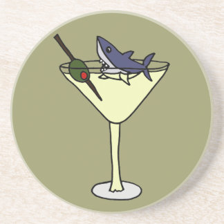 Funny Shark Eating Olive in Martini Glass Coaster