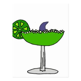 Funny Shark Fin in Margarita Glass Postcard