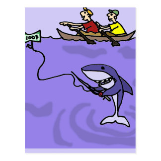 Funny Shark Fishing with Money Postcard