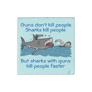 Funny Shark Gun Control Stone Magnet