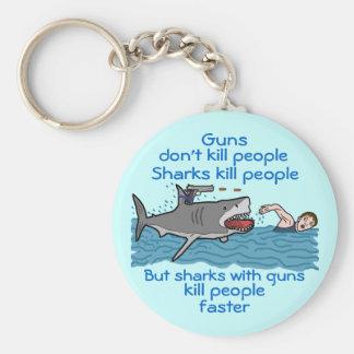 Funny Shark Gun Control Key Chain