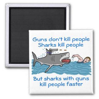 Funny Shark Gun Control Square Magnet
