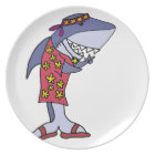 Funny Shark Hippy at the Beach Plate