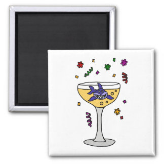 Funny Shark in Champagne Glass Magnets
