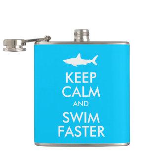Funny Shark Keep Calm and Swim Faster Parody Hip Flask
