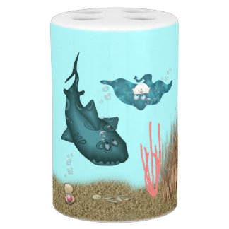 Funny Shark on Toothbrush Holder and SoapPump Set