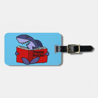 Funny Shark Reading Popular Beaches Book Luggage Tag