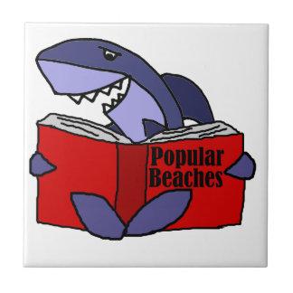 Funny Shark Reading Popular Beaches Book Tile