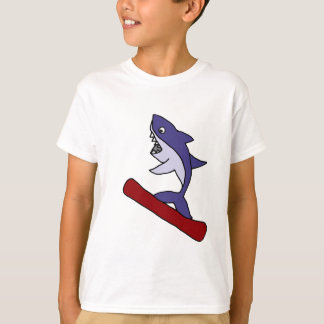 Funny Shark Snowboarding Cartoon T-Shirt