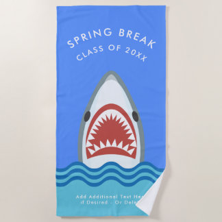 Funny Shark Spring Break Custom Vacation Beach Towel