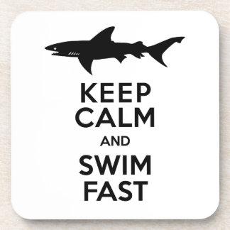 Funny Shark Warning - Keep Calm and Swim Fast Beverage Coaster