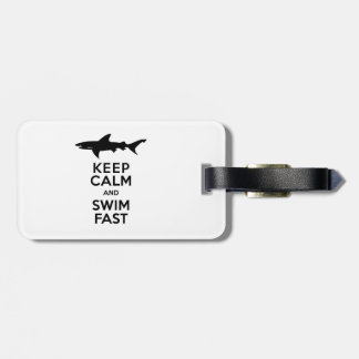 Funny Shark Warning - Keep Calm and Swim Fast Luggage Tag