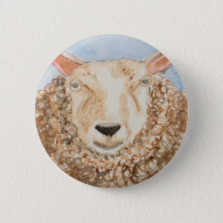 Funny Sheep animal watercolor aceo art printed on 6 Cm Round Badge