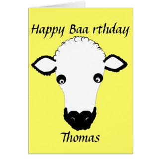 Funny Sheep Birthday, baa rthday, add name front Card
