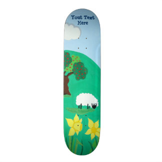 funny sheep grazing blue sky scenic illustration skate deck