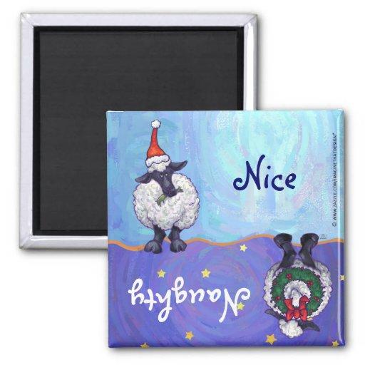 Funny Sheep Naughty Nice Holiday Magnet
